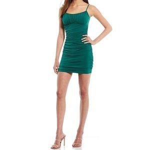 Honey & Rosie Hunter Green Spaghetti Strap Ruched Slim Mini Dress Small
